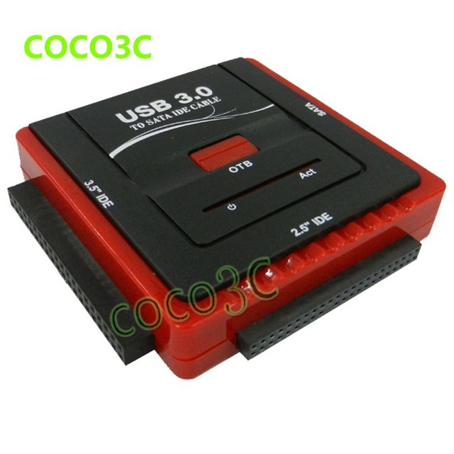 "Free shipping USB 3.0 To 2.5"" 3.5"" SATA IDE HDD SSD, CD-ROM CD-R adapter 1 SATA  to 2 IDE Data Offline backup Clone OTB"