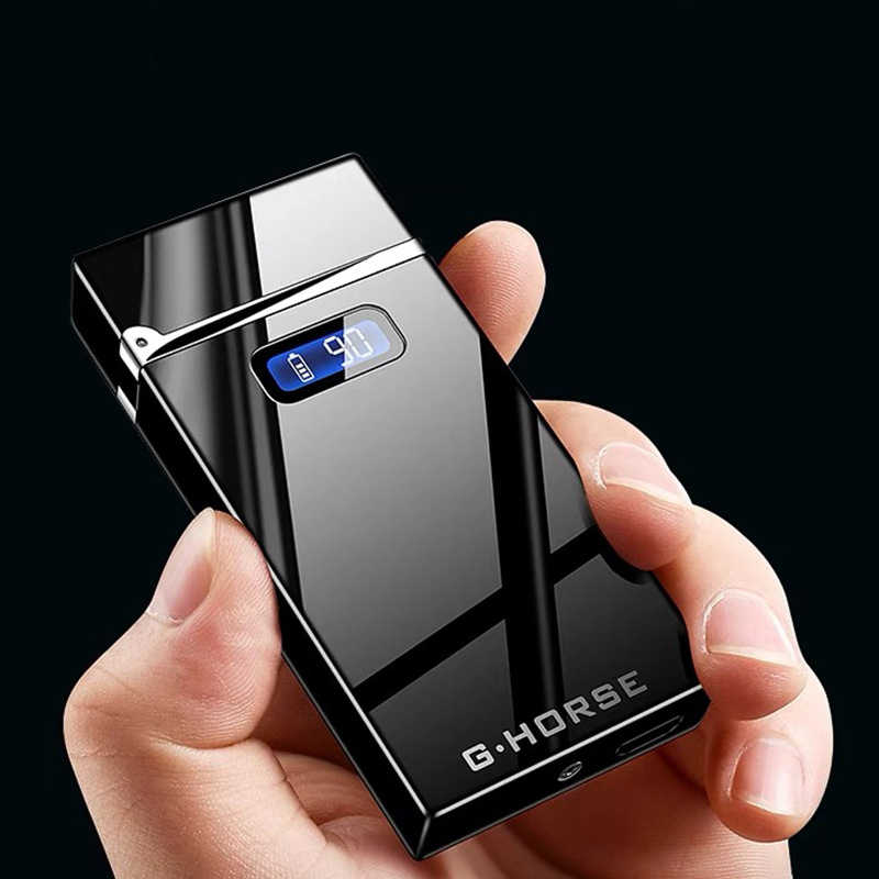 2019 New Electric Lighter With LED Power Display USB Charging Cigarette Lighter Windproof Arc Plasma Lighters Gadgets For Men