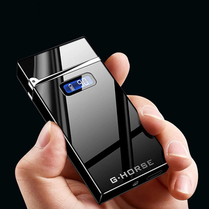 2019 New Electric Lighter With LED Power Display USB Charging Cigarette Lighter Windproof Arc Plasma Lighters Gadgets For Men(China)