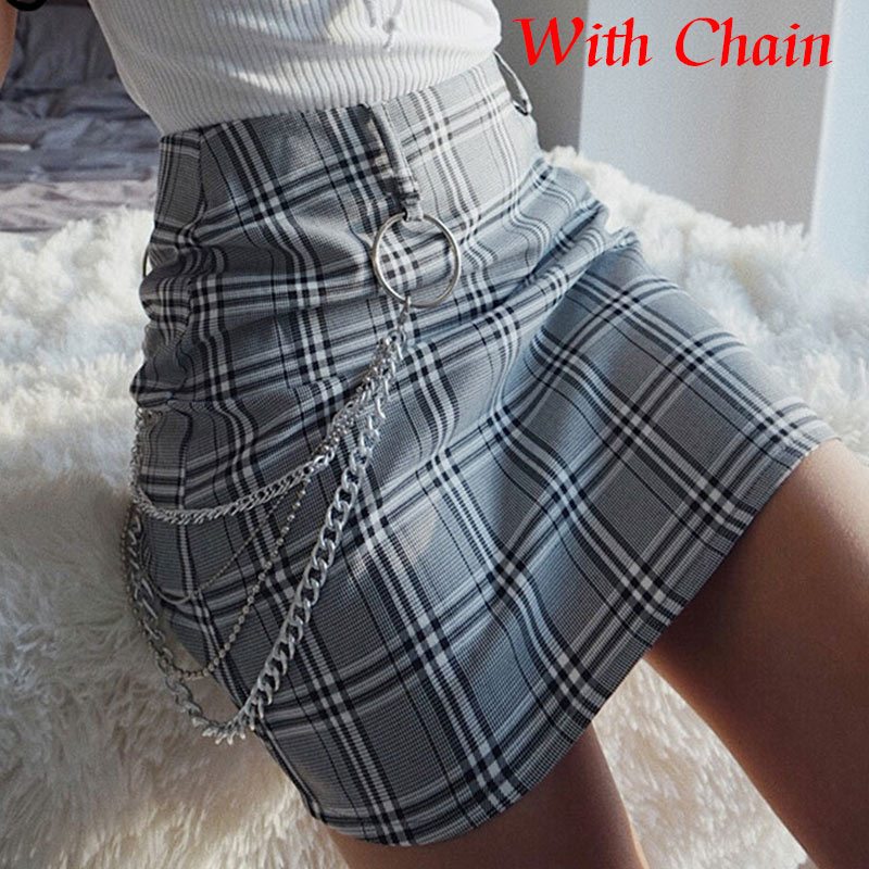 Women's Chains Plaid Bodycon Mini Skirt High Waist Office Lady Slim Women Skirts 2020 Summer Fashion New Female Short Bottoms