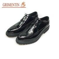 Grimentin модные туфли из лакированной кожи для мужчин 2018 Черный британский стиль Мужские строгие туфли