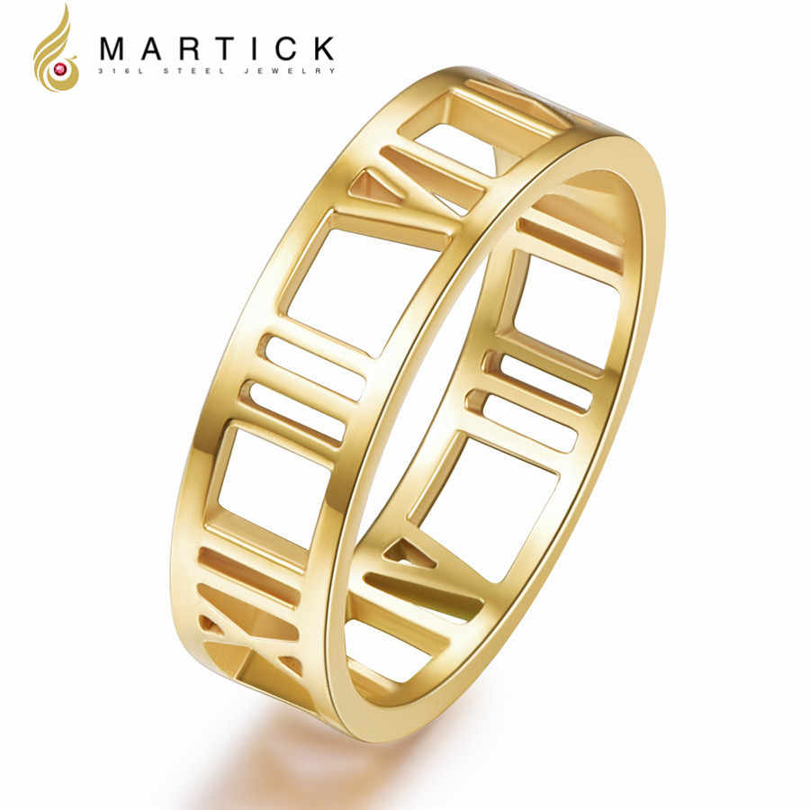 063a23ad72 Martick 316L Stainless Steel Initial Rings Gold-color Hollow Out Roman  Numerals Fashion Bijoux For