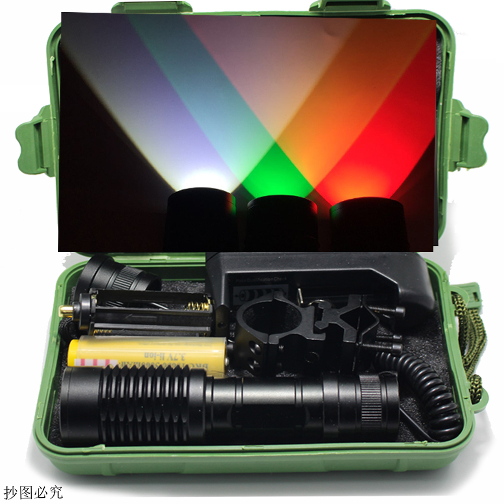 DZM-E16 Green Red  Zoom LED Flashlight  Hunting Light XM-L Q5 1000 Lumens ON/OFF Mode With Gun Clip Remote Pressure Switch 18650 powerful led flashlight 1503 cree q5 zoom 3 modes auminum alloy lantern white red green light charger gun mount rat tail
