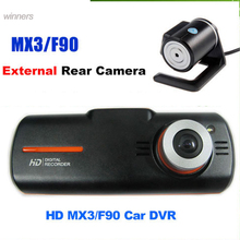 "Hight quality F90 Car DVR Camera 2.7"" LCD Dual Lens Car DVR Camera Recorder HD 1280*720P Rear IR Camer HDMI H.264 G-sensor"