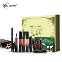 Niceface Gift Box 12 Colors Lip Liner Pencils 4 Liquid Metallic Lip Gloss 4 Lipstick Stick