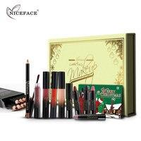 Niceface Hediye Kutusu 12 Renk Dudak Liner Kalemler + 4 Sıvı Metalik dudak Parlatıcısı + 4 Ruj Sopa + 2 Dudaklar Makyaj Fırçalar Kozmetik