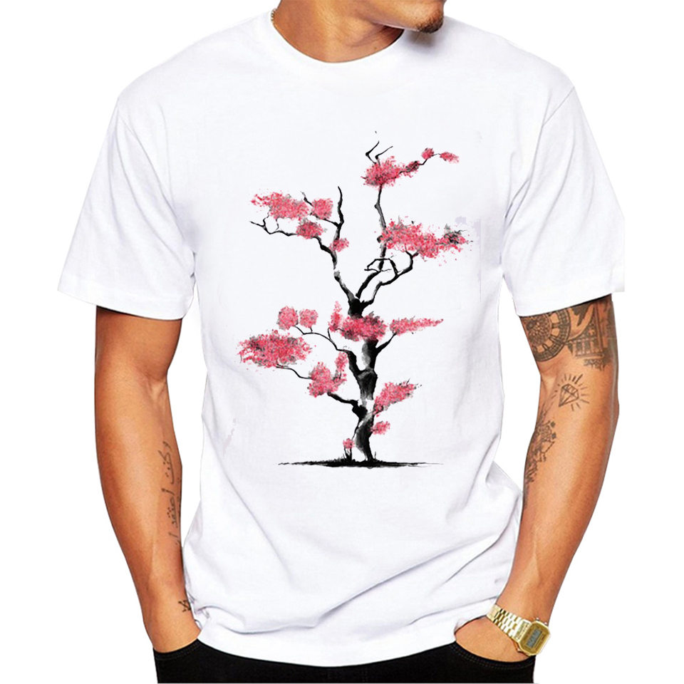 TEEHEART 2017 New Arrivals Summer Cherry Blossoms Vintage Printed t shirt for man Short Sleeve Fashion Tees PA811