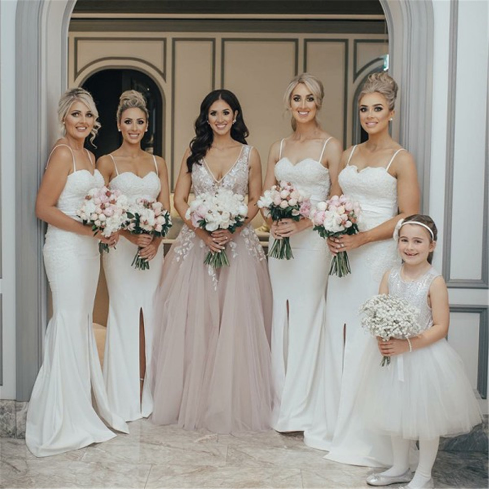 Custom Made White Mermaid   Bridesmaid     Dresses   Strapless Spaghetti Strap Front Split Lace Elastic Satin Long Wedding Party   Dress