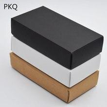 20 stücke Braun Papier Kraft Boxen Post Handwerk Pack Box Weiße Leere Karton Papier Geschenk Box mit Deckel Schwarz Geschenk karton Karton Box