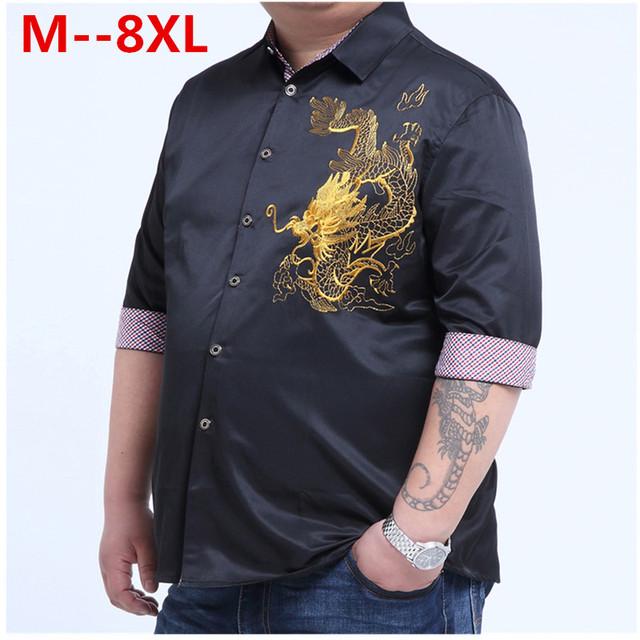 Além de grande tamanho grande 5XL 6XL 7XL 8XL 9xl 4 XLEmbroidery dragão Camisas Dos Homens do Algodão de Manga Curta Camisa de Vestido de Verão Respirável camisa
