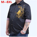 plus large big size 9xl 8XL 7XL 6XL 5XL 4XLEmbroidery Dragon Shirts Men Cotton Short Sleeve Dress Shirt Summer Breathable Shirt
