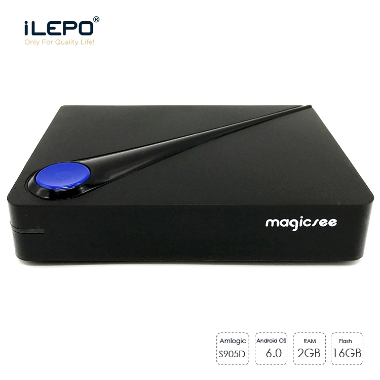 iLEPO C300 Amlogic S905D Quad-core 2GB 16GB Home TV Set Top Box Android 6.0 4K Smart Media Player Bluetooth 4.1 Remote Control