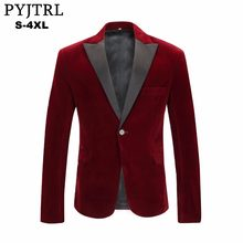 PYJTRL Men's Autumn Winter Velvet Wine Red Fashion Leisure Suit Jacket Wedding Groom Singer Slim Fit Blazer Hombre Masculino(China)