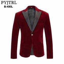 PYJTRL для мужчин's осень зима бархат цвет красного вина модные куртка для отдыха Свадебные Жених певица Slim Fit Мужской Блейзер Masculino