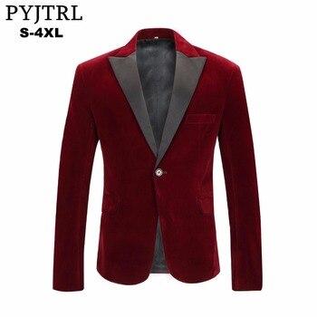 PYJTRL Men's Autumn Winter Velvet Wine Red Fashion Leisure Suit Jacket Wedding Groom Singer Slim Fit Blazer Hombre Masculino