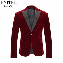 PYJTRL Mens Autumn Winter Velvet Wine Red Fashion Leisure Suit Jacket Wedding Groom Singer Slim Fit Blazer Hombre Masculino cheap Blazers Single Breasted Full Polyester England Style Regular standard Closure collar Regular pattern (collar width 7-9cm)