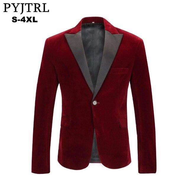 eb62699016a45 PYJTRL di Autunno degli uomini di Inverno di Velluto Vino Rosso Vestito di  Svago di Modo