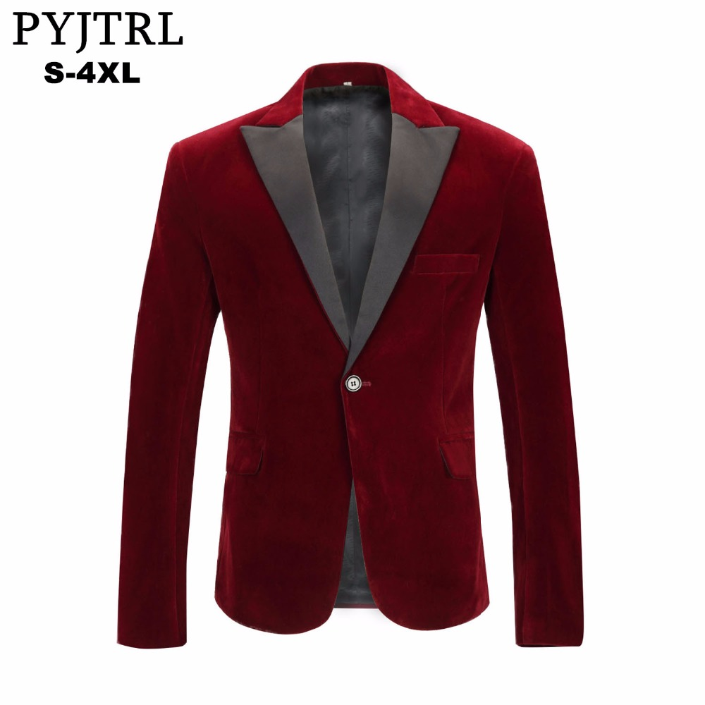 PYJTRL font b Men s b font Autumn Winter Velvet Wine Red Fashion Leisure Suit font