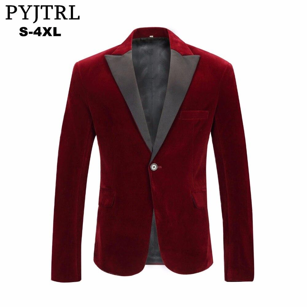 PYJTRL hombres Otoño Invierno terciopelo rojo vino moda ocio traje chaqueta boda novio cantante Slim Fit Blazer Hombre Masculino
