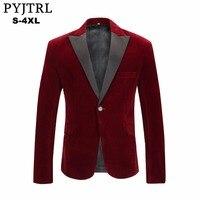 PYJTRL Men S Autumn Winter Velvet Wine Red Fashion Leisure Suit Jacket Wedding Groom Singer Slim