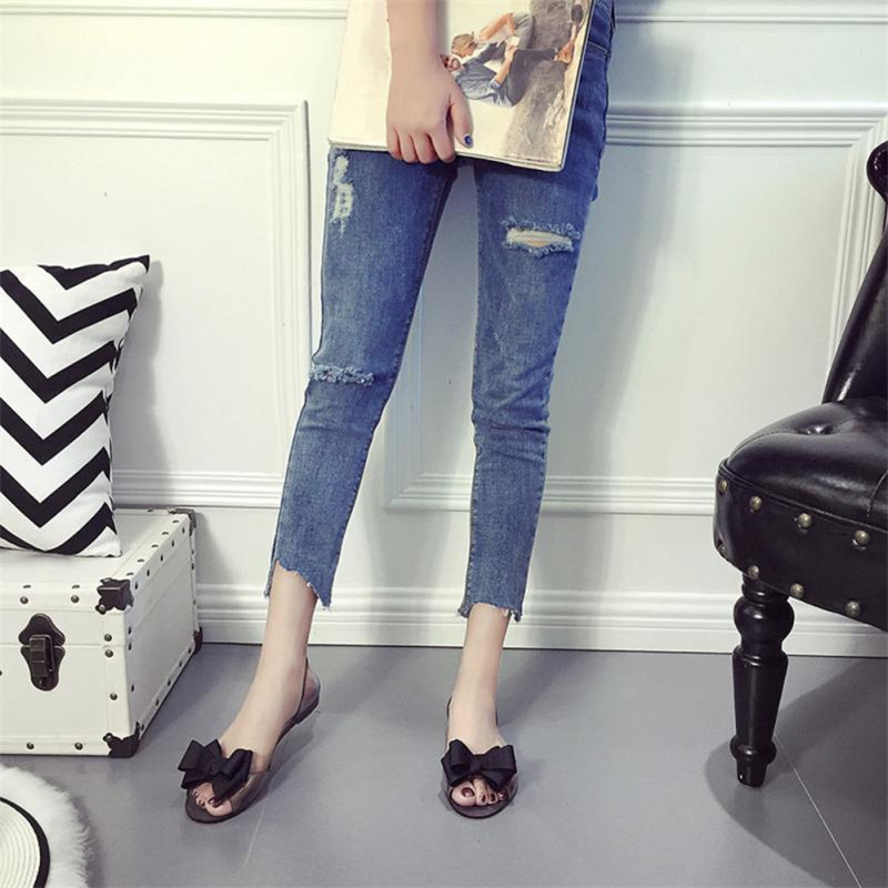 2018 Summer Women Ladies Sandals Women Fashion Bow Fish Mouth Transparent Flat Shoes Casual Shoes Sandals Comfortable Shoes nemaone new hot sale women sandals summer casual fashion fish mouth shoes wedge sandals women shoes free shipping