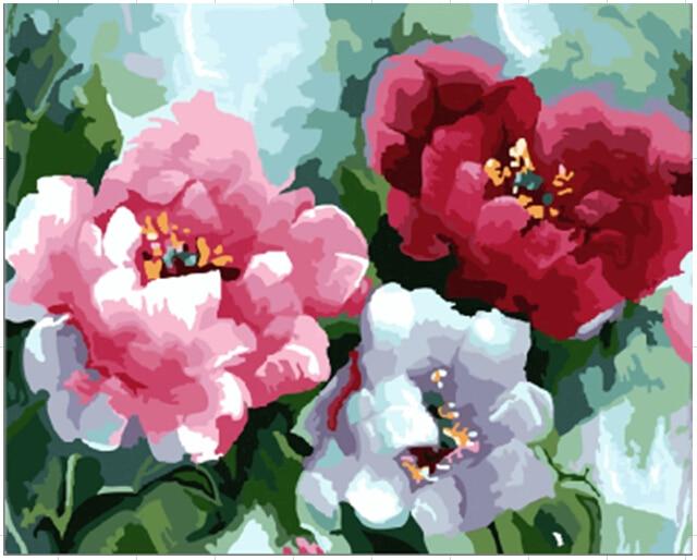 Tre fiori astratta immagini painting by numbers cuadros for Dipinti ad olio fiori
