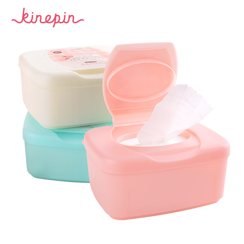 KINEPIN 300pcs Facial Makeup Cotton Wipes Face Cleansing Puff Nail Polish Remover Removable Cosmetic Skin Care Pads with Case candy color calabash shaped cosmetic makeup cotton pads sponge puff pink