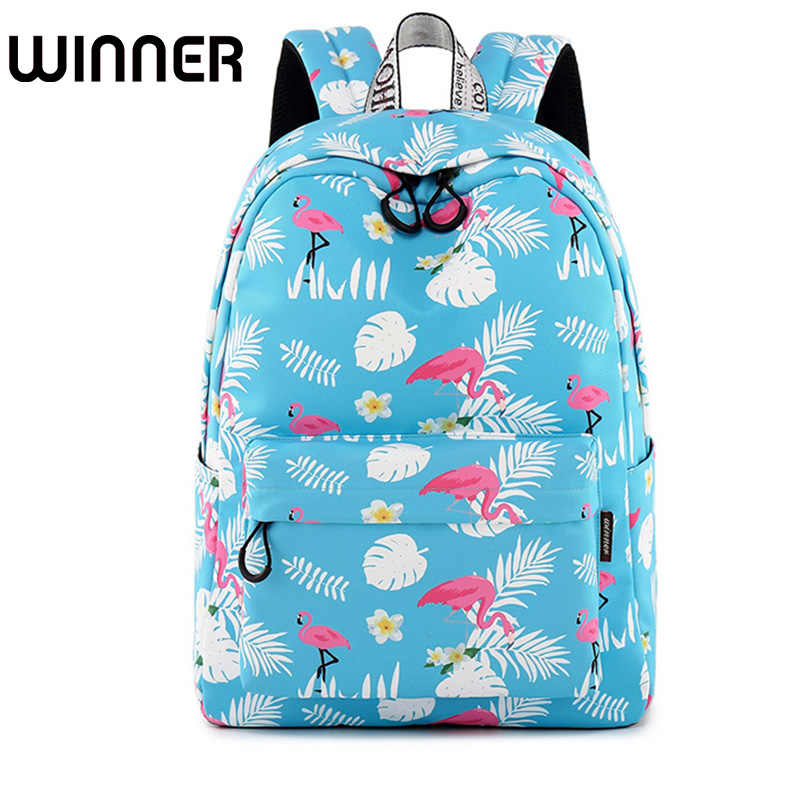 Fashion Waterproof Women Backpack Flamingo Printing Back Pack Bookbag Cute  School Bags For Teenage Girls Travel 6d91b5370da28