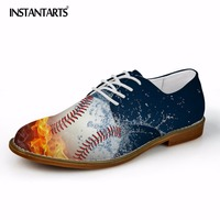 INSTANTARTS 3D Fire Soccerly Pattern Men Casual Oxfords Shoes Autumn Casual Man Leather Shoes Fashion Business Dress Shoes Male