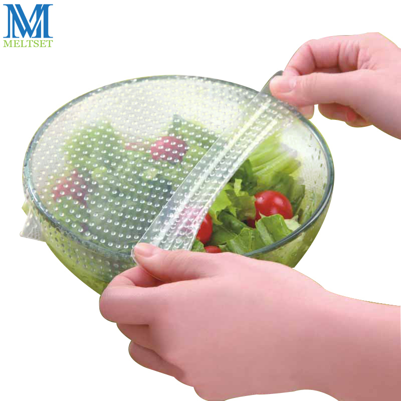 Meltset 20CM Reusable Silicone Food Wraps Seal Vacuum Food Magic Wrap Multifunctional Food Fresh Keeping Cover Stretch Lid