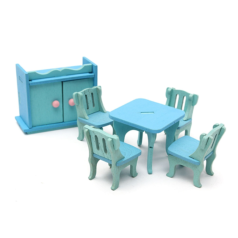 New Wooden Doll House Miniature DIY Dining Room Furniture Set Toy Gift For Children Kids Pretend Role Play Toy Furniture Toys