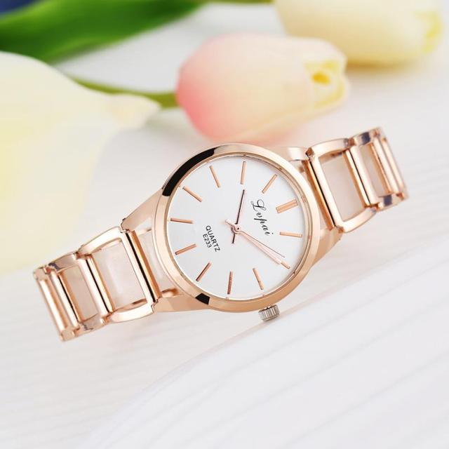 lvpai Women Alloy Strap Rhinestones Dial Plated Analog Quartz Bracelet Watch Wri