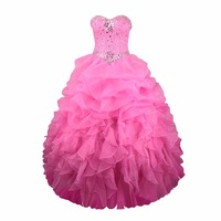 Ruby Bridal Vestidos De Fiesta Rose Red Organza Catch Bubble Ball Gown Prom Dress Luxury Long Strapless Prom Party Gown LP047