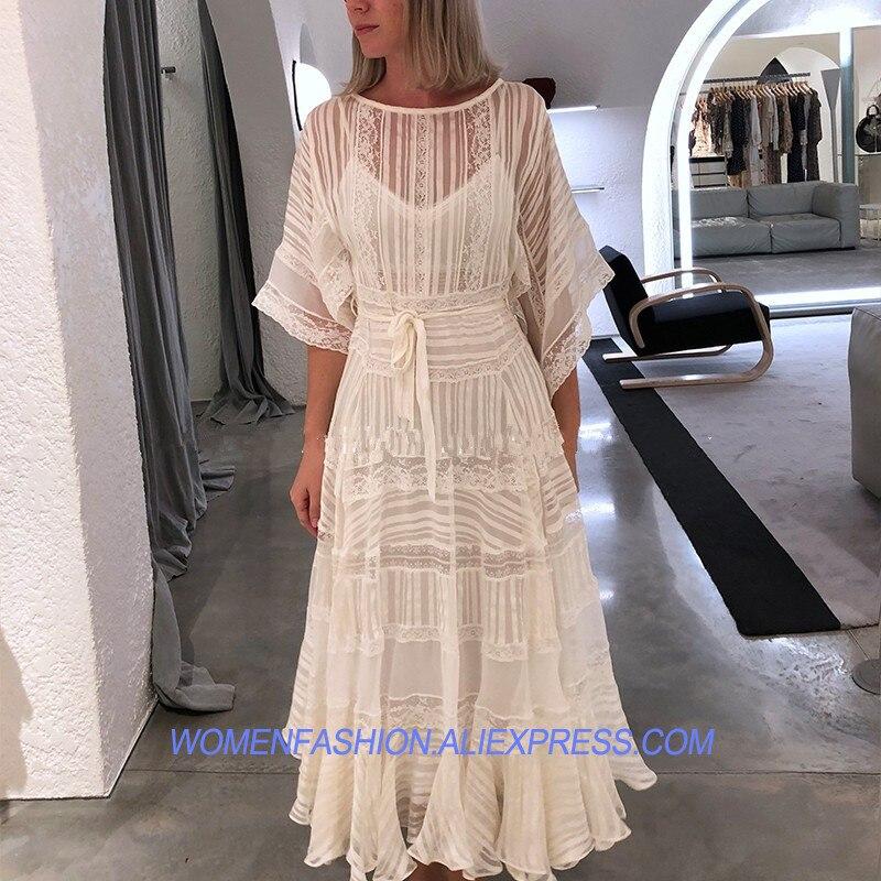 2018 piste Designer été Boutique robe femmes de haute qualité fée charmante dentelle blanche Patchwork Midi robes de soirée