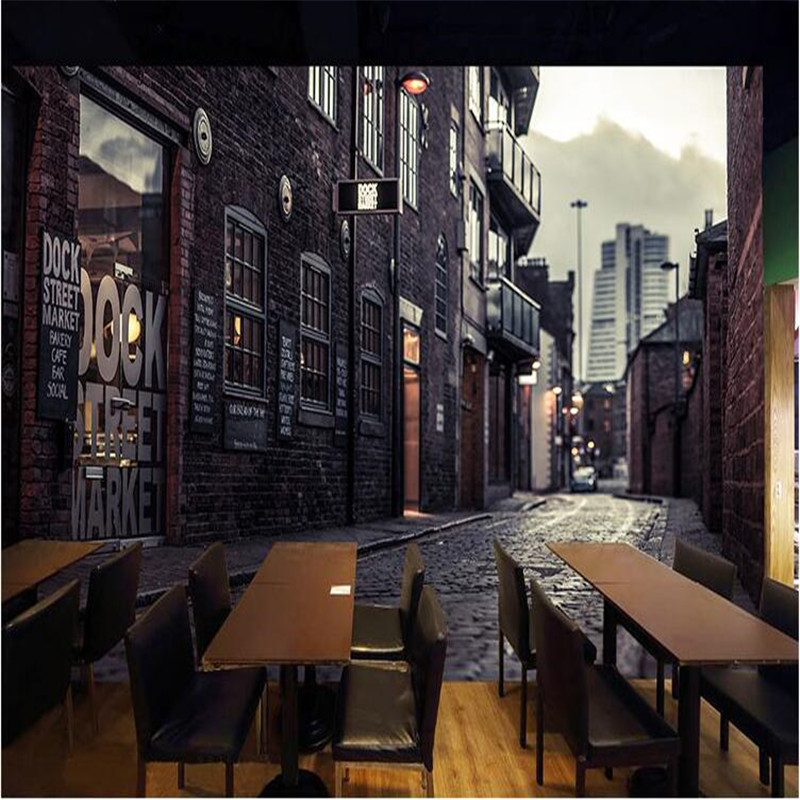 photo wallpaper Black and white retro nostalgia Continental Cafe Restaurant KTV street cafe large mural 3d wall murals wallpaper
