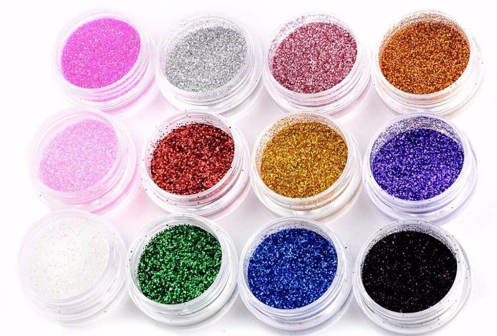12 цветов, Смешанный УФ гель для ногтей, блестящая пыль, порошок для УФ-геля, акриловый порошок, украшение ногтей, Советы DIY