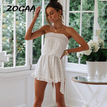 ZOGAA Women Summer Rompers Elegant Off Shoulder Short Jumpsuit Wrapped Chest Lace-up Beach Playsuit Female Casual Party