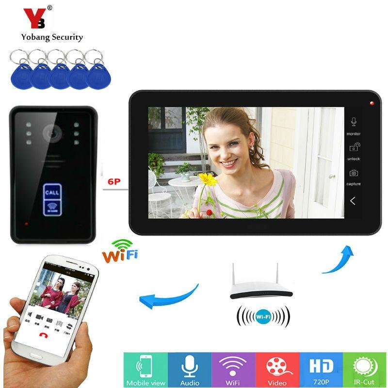 Yobang Security RFID Video Intercom 9 Inch Monitor Wifi Wireless Video Door Phone Doorbell 1 Camera 1 Monitor APP Control