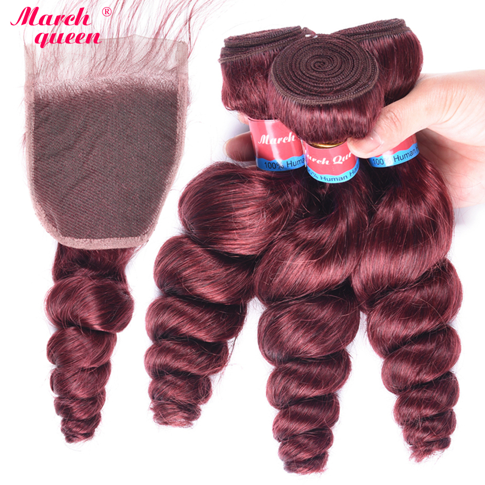 March Queen Indian Hair Weave Bundles With Closure 3 Bundles 99J Red Wine Color Human Hair Loose Wave Bundles With Lace Closure