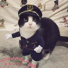 Drôle Halloween animal chat chien de police costume cosplay avec chien de police chapeau petit chien puppy parti uniforme costume veste vêtements