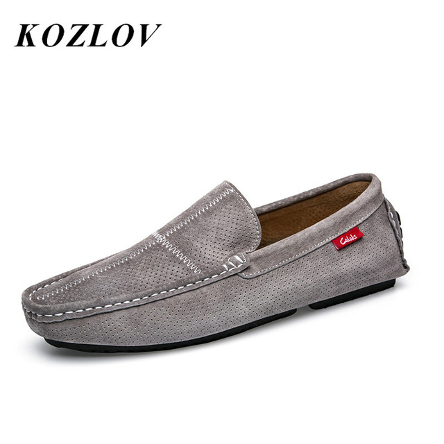 9602af0d43 KOZLOV Italian Mens Casual Shoes Luxury Brand Loafers Suede Leather Designer  Boat Shoes Men High Quality Red Moccasins For Men