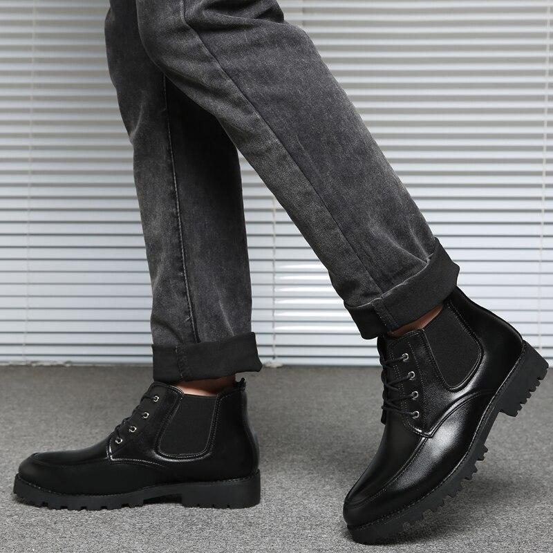 Hombre Moda Los Cuero Genuino Walkerpeak Black Casual Botas Invierno Zapatos Tobillo 2018 Hombres De qU8Xwz