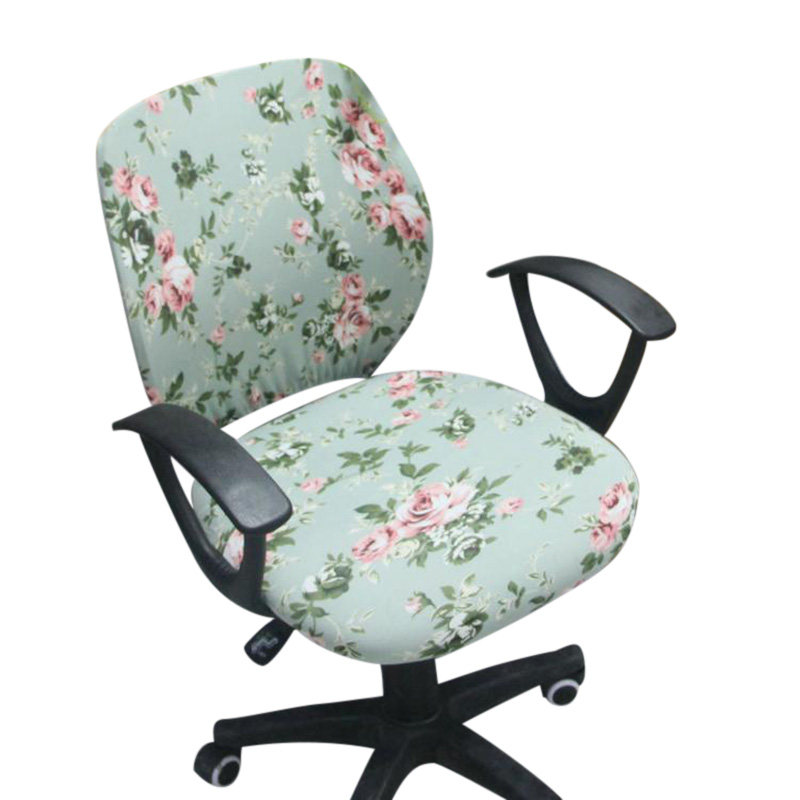 Office Chair Covers Spandex Computer Chair Slipcover Flower Printed Removable Rotating Chair