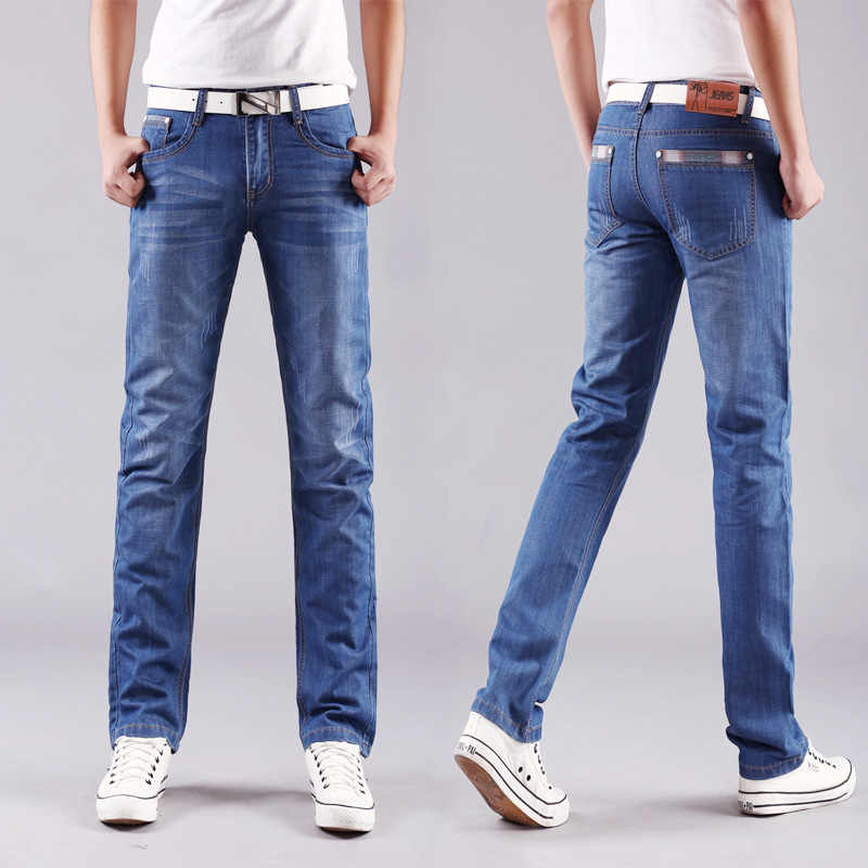 d8ee6d01a98 Four Seasons style Men Casual Jeans Slim Straight Elasticity Thin Jeans New  Fashion Loose Waist Long