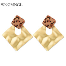 WNGMNGL Vintage Sexy Leopard print Acrylic Hollow Drop Earrings For Women 2018 New Female Charm Statement jewelry