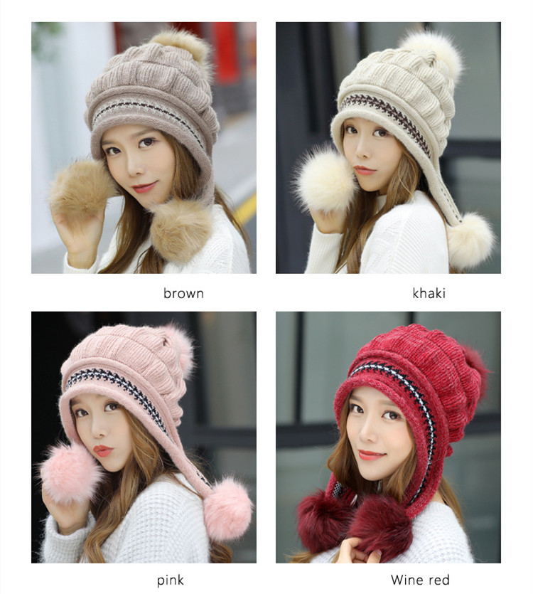 New Autumn And Winter Korean Version Of The Warm Women Hat Gloves Set Knitted Hair Ball Two Sets Of Ladies Thickening HC37 (5)