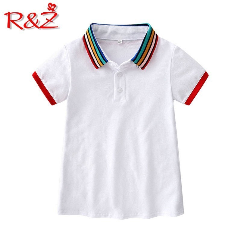R&Z Children's Dress 2019 Summer Europe and America Girls College Wind Rainbow Collar Dress Lapel Short Sleeve Casual Dress image
