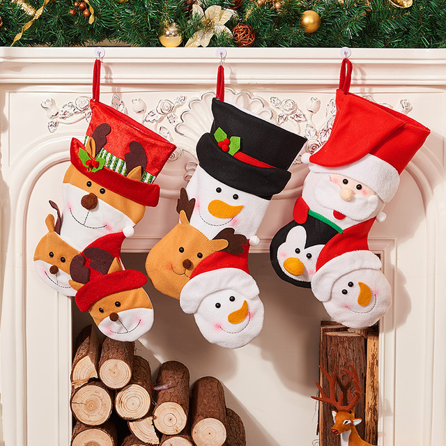 Childrens Retro Christmas Stockings Gift Bags Reindeer Personality Bag New Year Gingerbread Socks Candy Pouch Party