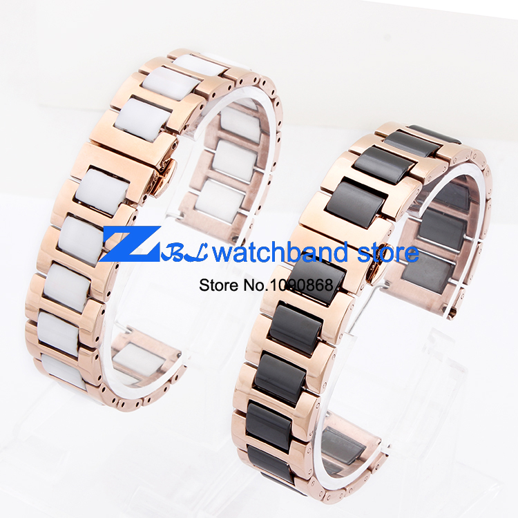 ceramic Bracelets and rose stainless steel watchband watch band  Butterfly Buckle women wristband strap 16mm 18mm 20mm
