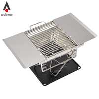 Wulekue Stainless Steel BBQ Charcoal Grill Outdoor Camping Folding Portable Cooking Stove Household Barbecue Tools